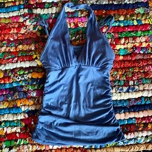 Beyond Yoga Blue Halter Tank Top Size Small